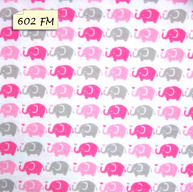 602 FM Pink Grey Elephants on White Background